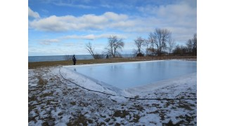 Frozen Backyard Rink-Cold Lake Water