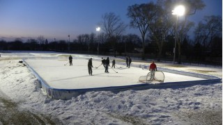 Iron Sleek Hockey Rink on park football field